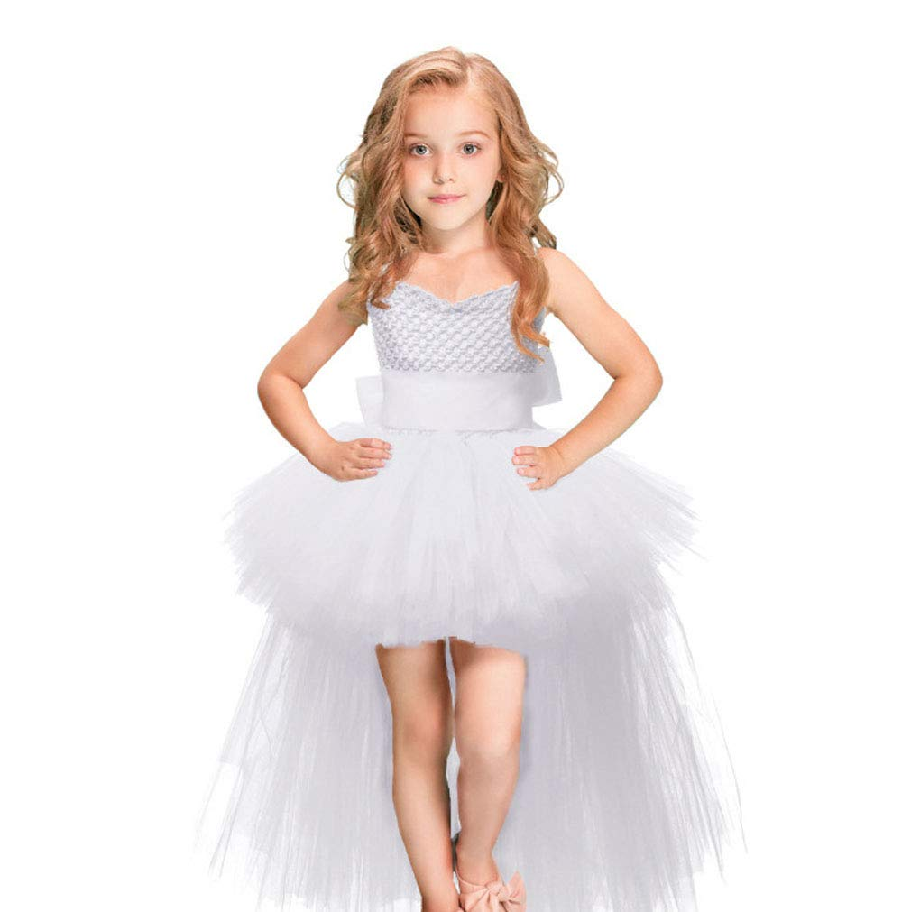 Shiny Toddler Little Girls Spaghetti Straps High-Low Christmas Pageant Dress Sunglass,White 18-24M