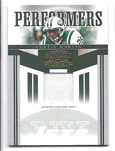 CURTIS MARTIN 2006 Donruss Gridiron Gear Performers #49 Game-Worn JERSEY PARALLEL Card #046 of only 100 Made! New York Jets Football