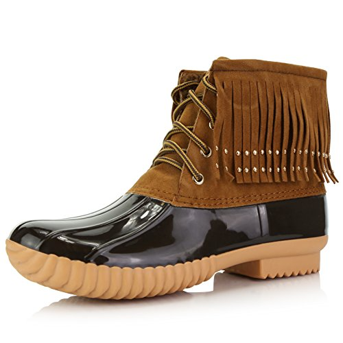High Booties Padded Rubber Collar Women's Boots Mud Ankle Tan DailyShoes Up Duck Snow Fringe Lace Rain 7EYwcqSpa