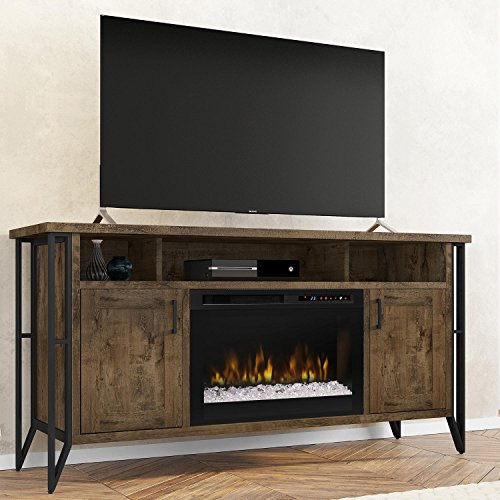 (DIMPLEX Electric Fireplace, TV Stand, Media Console, Space Heater and Entertainment Center with Glass Ember Bed Set in Farmhouse Chestnut Finish - Tyson #GDS26G8-1873FM)