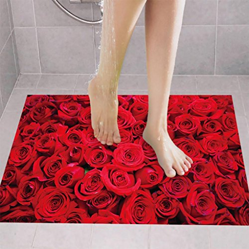 3D Rose Floor/Wall Sticker Removable Mural Decals Art Living Room Decors (Red) (Rose Mural)