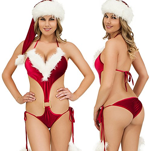 WELVT Women Hot Sexy Lingerie Bra Suit Christmas Costume Miss Santa Bikini With Hat C05 (Plus Size Sexy Santa Christmas Costume)