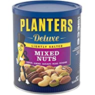 Planters Deluxe Lightly Salted Mixed Nuts, 15.25 oz. Resealable Container | Reduced Sodium Mixed Nuts with Cashews, Almonds, Hazelnuts, Pistachios & Pecans | Vegan Snacks, Kosher (00029000020764)