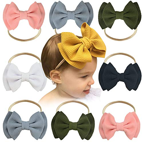 Baby Girl Nylon Hairbands Infant Toddler headbands Elastics, Soft Hair Bows Petal Flower knotted Accessories for Newborn (Dark colors)