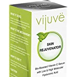 VIJUVE 45% Vitamin C Serum with Double Hyaluronic Acid and Collagen Peptides for Face, Eyes, Neck and Chest, 1 oz.