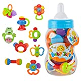 Baby : Rattle Teether Set Baby Toy - Wishtime 9pcs Shake and Grap Rattle Toy for Newborn with Giant Bottle Gift for 0-12 Month Baby Infant Newborn