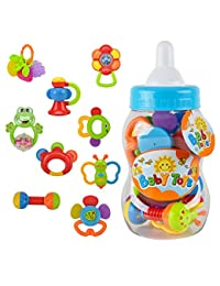 Baby Rattle Teether Toy Set - Wishtime 9pcs Rattle Teether Newborn Toys with Giant Bottle Gift for Baby, Infant, Newborn BOBEBE Online Baby Store From New York to Miami and Los Angeles