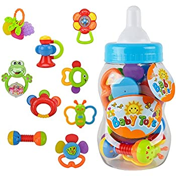 Rattle Teether Set Baby Toy - Wishtime 9pcs Shake and Grap Rattle Toy for Newborn with Giant Bottle Gift for 0-12 Month Baby Infant Newborn