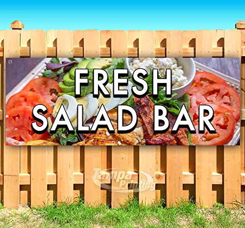 Fresh Salad BAR 13 oz Heavy Duty Vinyl Banner Sign with Metal Grommets, New, Store, Advertising, Flag, (Many Sizes Available)