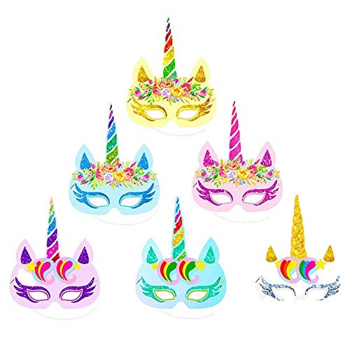 12 pcs Party Unicorn Headband Hat Happy Birthday Decorations Hat Baby Shower Mask -