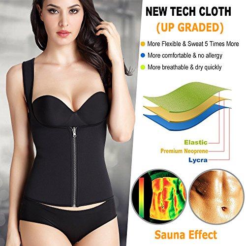 b83fb58120 Amazon.com  BURUNST Waist Trainer Vest for Women - Neoprene Sauna Sweat  Body Shaper with Zipper for Weight Loss - Slimming Waist Tummy Control  Corset Tank ...