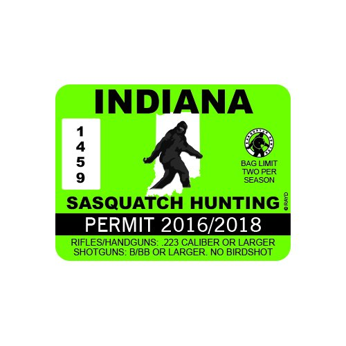 Indiana Sasquatch Hunting Permit - Color Sticker - Decal - Die Cut