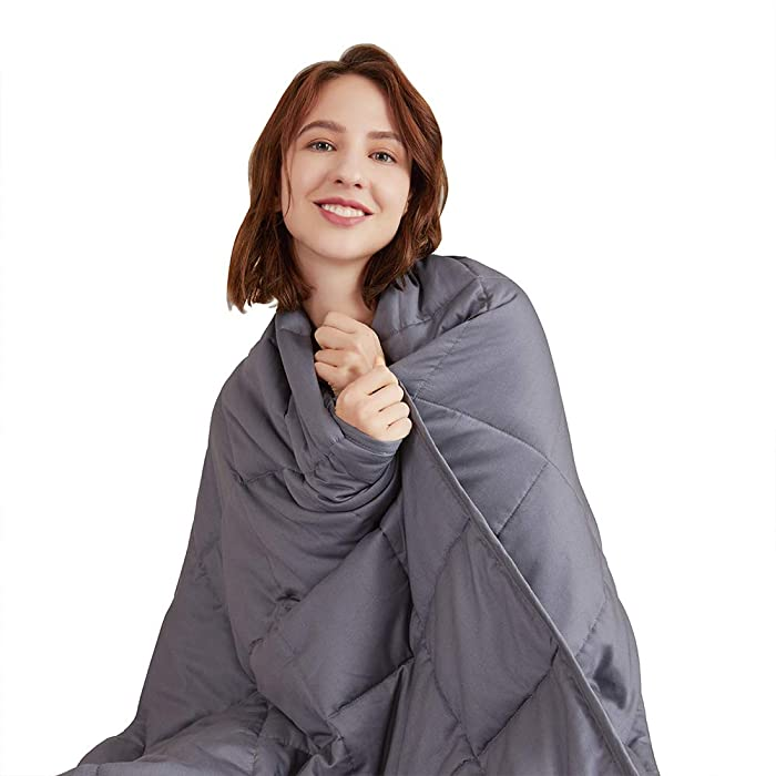 Hiseeme Soft Weighted Blanket 15lbs for Adult (48''x72'', Twin Size) Cotton with Glass Beads - Dark Grey