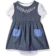 Bon Bebe Baby Girls' 2 Piece Chambray Dress Set with Shortsleeve Bodysuit