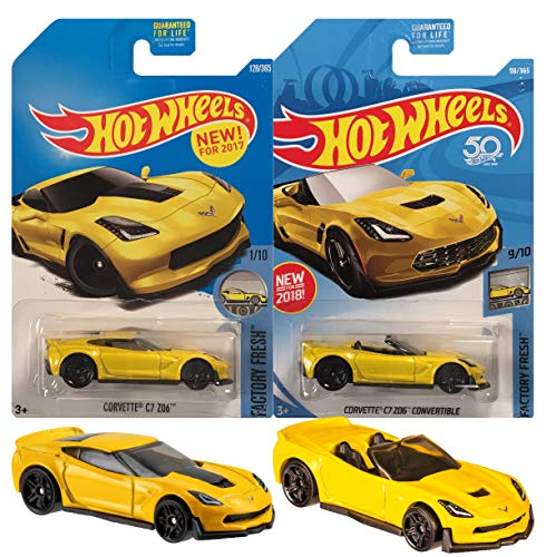 - Hot Wheels Yellow Corvette C7 Z06 2 Pack Bundle (Hard Top & Convertible)
