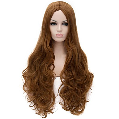 Good Halloween Costumes For Curly Hair - Flovex Women Long Wavy Cosplay Wigs Ladies Sexy Natural Costume Club Party Daily Hair with Wig Cap (Golden Brown)