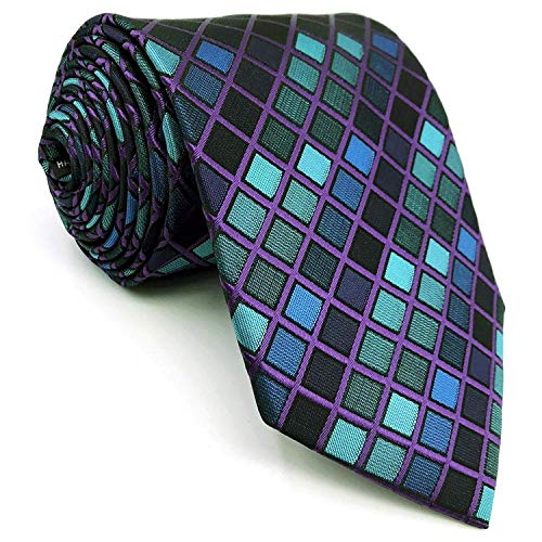 SHLAX&WING Mens Ties Necktie New Design Blue Checkers Silk Extra Long 63 inches