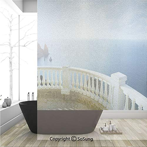 3D Decorative Privacy Window Films,Historical Stone Balcony Balustrade Ocean Rocks Horizon Ancient Europe,No-Glue Self Static Cling Glass Film for Home Bedroom Bathroom Kitchen Office 36x48 Inch