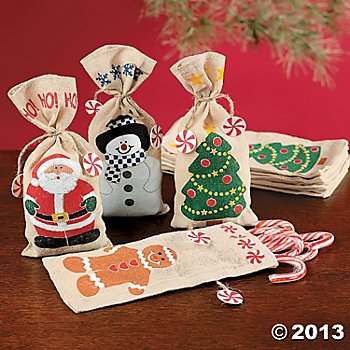Canvas Holiday Gift Bags Ties