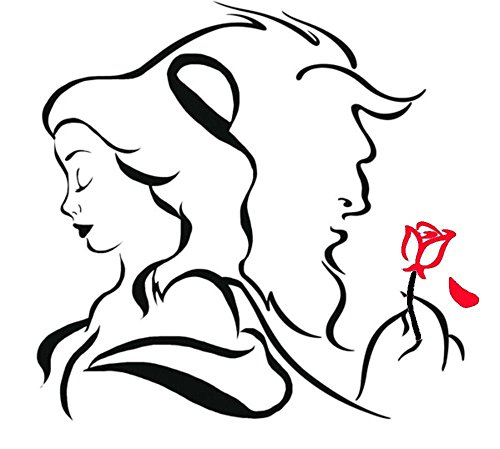 Disney Beauty And The Beast W/ Red Rose, Orange, 12 Inch, Die Cut Vinyl Decal, For Windows, Cars, Trucks, Toolbox, Laptops, Macbook-virtually Any Hard Smooth Surface