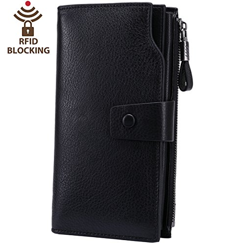 Itslife Women's RFID Blocking Large Capacity Luxury Wax Genuine Leather Cluth Wallet Card Holder Ladies Purse (Natural Black RFID BLOCKING)