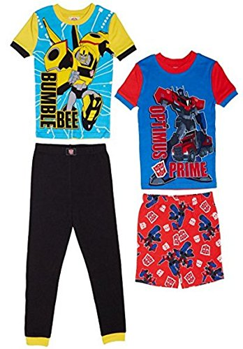Komar Kids Boys 4 Piece Cotton Pajamas Sleepwear Set with Shorts and Pants (2T, Transformers)