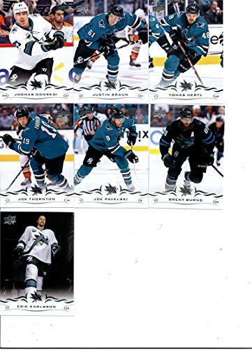 2018-19 Upper Deck Series 2 Hockey San Jose Sharks Team Set of 7 Cards: Erik Karlsson(#398), Brent Burns(#399), Joe Pavelski(#400), Joe Thornton(#401), Tomas Hertl(#402), Justin Braun(#403), Joonas Donskoi(#404)