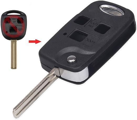 Rsfow Funkschlüsselgehäuse Mit 3 Tasten Kompatibel Mit Lexus Is200 Gs300 Rx300 Ls400 Es Rx Lx Gs Serie Keine Chips Im Inneren Auto