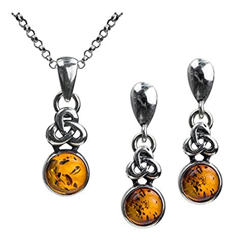 Amber Sterling Silver Celtic Design Round Set Stud Earrings Pendant Necklace Chain 18