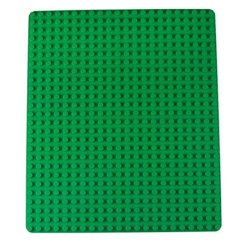 Plaque de base empilable - de qualité - pour grosses briques/avec gros tenons - compatible avec les plus grandes marques - 41,2 x 34,9 cm - vert