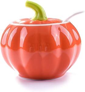 Sugar Bowls with Lid and Spoons, Pumpkin Shape Ceramic Sugar Bowl with Sugar Spoon and Lid for Home and Kitchen, Elegant Design, orange, 10.5 OZ (300 ML)