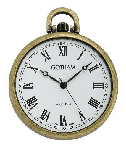 Quartz Pocket Tone Watch Gold - Gotham Men's Antique Gold-Tone Ultra Thin Railroad Open Face Quartz Pocket Watch # GWC15028AR