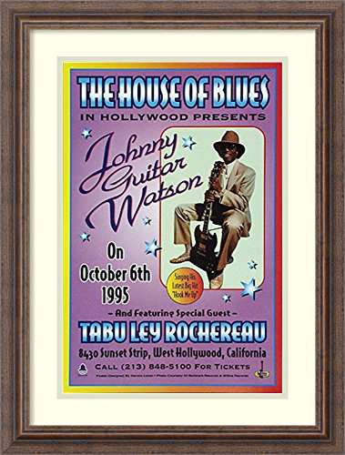 Framed Wall Art Print | Home Wall Decor Art Prints | Johnny Guitar Watson, The House of Blues, Hollwood, 1995 by Dennis Loren | Country Rustic Decor