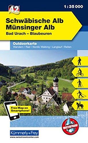 Deutschland Outdoorkarte 42 Schwäbische Alb Münsinger Alb 1 : 35.000: Bad Urach-Blaubeuren. Wanderwege, Radwanderwege, Nordic Walking (Kümmerly+Frey Outdoorkarten Deutschland)