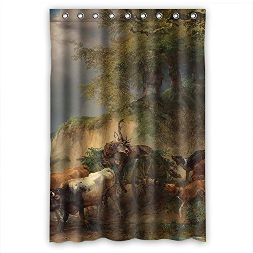 MaSoyy Beautiful Scenery Landscape Painting Polyester Shower Curtains Width X Height / 48 X 72 Inches / W H 120 By 180 Cm For Him Birthday Valentine Father Wife. Wipe Clean. Fabric Mater (Tan Damask Shower Curtain)