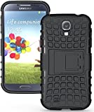 Heartly Flip Kick Stand Spider Hard Dual Rugged Armor Hybrid Bumper Back Case Cover For Samsung Galaxy S4 I9500 - Rugged Black