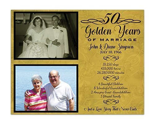 50th Wedding Anniversary Gift Personalized Print by Party Print Express