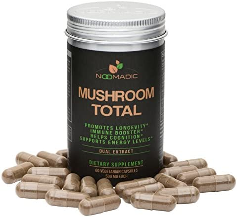 Mushroom Total, 60 Capsules, 500mg, Medicinal Mushroom Blend of Lions Mane, Turkey Tail, Chaga, Reishi, Cordyceps, Hot Water Extract, Fruiting Bodies, 30 Beta-D-Glucans, Natural Immune System Booster