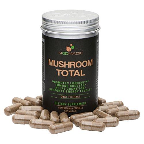 Mushroom Total Capsules, a Blend of The Best Medicinal Mushrooms: Lions Mane, Turkey Tail, Chaga, Reishi (Ganoderma lucidum), Cordyceps, Dual Extract, 30% Beta-D-Glucans