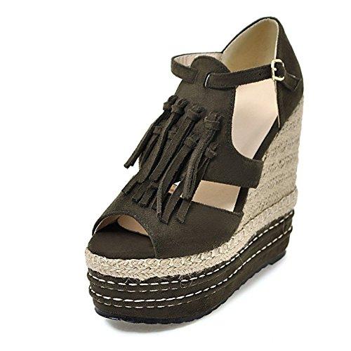 Fereshte Dames Kwastjes Peep-toe Platform Stro Gevlochten Sleehakken Sandalen Met Super Hoge Hakken Leger Groen