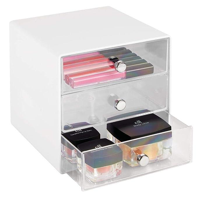 mDesign Caja organizadora para artículos de bebés – Organizador de plástico de color crudo con 3 cajones – Cajonera de plástico para los biberones, ...