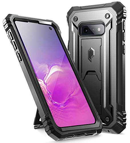 Galaxy S10e Rugged Case with Kickstand, Poetic Heavy Duty Military Grade Full Body Cover, with Built-in-Screen Protector, Revolution Series, for Samsung Galaxy S10e 5.8 Inch (2019), Black