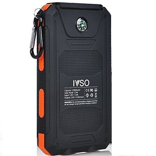 IVSO 11000mAh Solar Charger- Portable Solar Power Bank / Backup External Battery Pack with 2 USB Port +2 LED Light + Carabineer + Compass for Cellphone, Tablet, Camera at Emergency Outdoors (Orange) Gambolex Gear And Gadgets