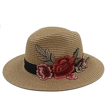 2019 Women Summer Wide Brim Straw Embroidery Panama Sun Hat for Elegant Lady Fedora Queen Beach Sun Hat