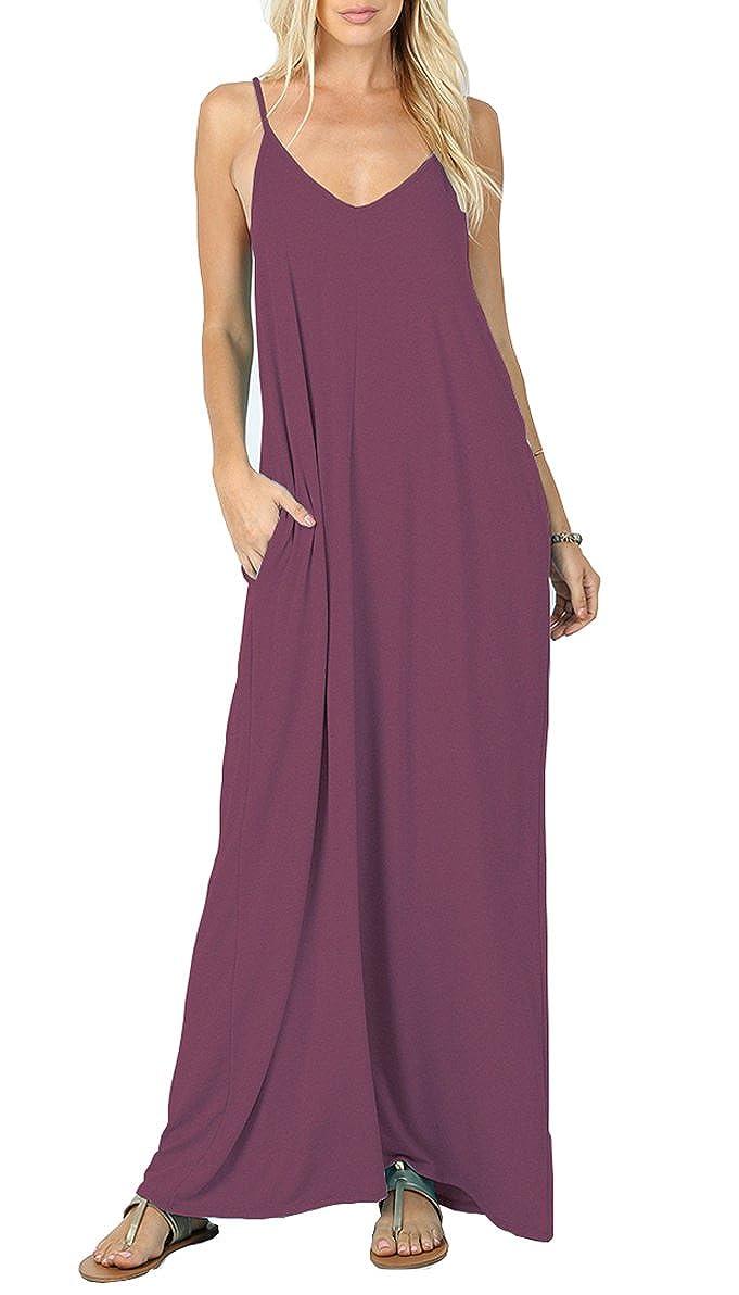07 Mauve Iandroiy Women's Summer Casual Plain Flowy Swimwear Cover Up Loose Beach Cami Maxi Dresses with Pockets