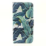 Sony Xperia M4 Aqua Case Flip Cover,Sony Xperia M4 Aqua Flip Cover,[Slim Fit]Premium Leather Wallet Case for Sony Xperia M4 Aqua Protective Case with Stand-Banana leaf