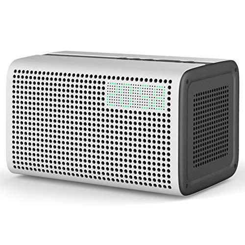 GGMM E3 Bluetooth WiFi Speaker Alexa Built-in Alexa Speaker, Multi Room Play Smart Speaker with LED Clock, Alarm Setting, USB Charging Port, Stereo Sound Airplay Speaker, White (Best Airplay Alarm Clock)