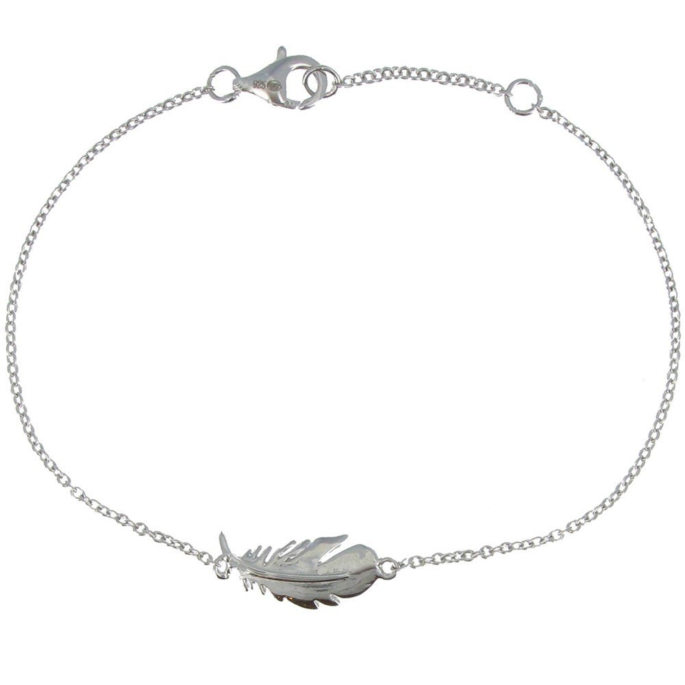 Les Poulettes Jewels - Sterling Silver Bracelet with Bird Feather