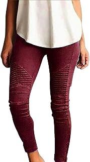 ASTV Women Streetwear Skinny Stretch Pleated Slim Fit Pencil Carpis Pants Chino Pants
