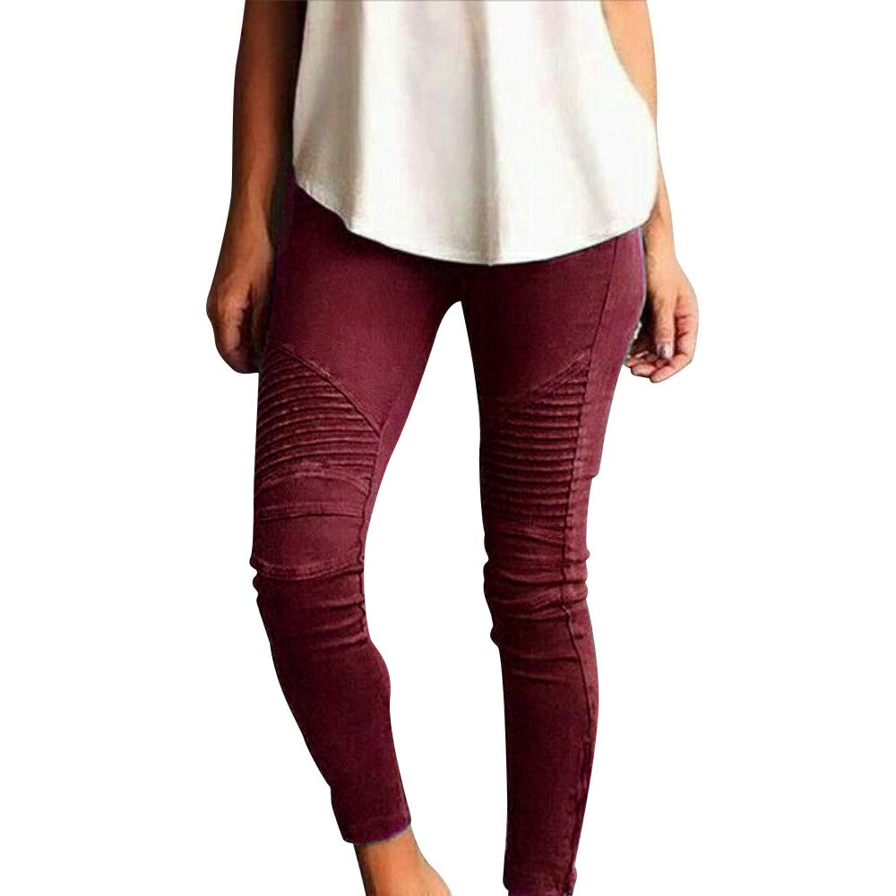 2019 Jeggings for Women Plus Size Elastic High Waist Crop Pants Skinny Stretch Trousers by-NEWONESUN Red